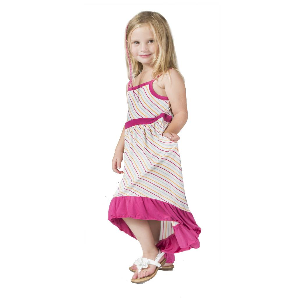Kickee Pants Dress - Print Hi Lo Maxi Dress Girl Beach Stripe -