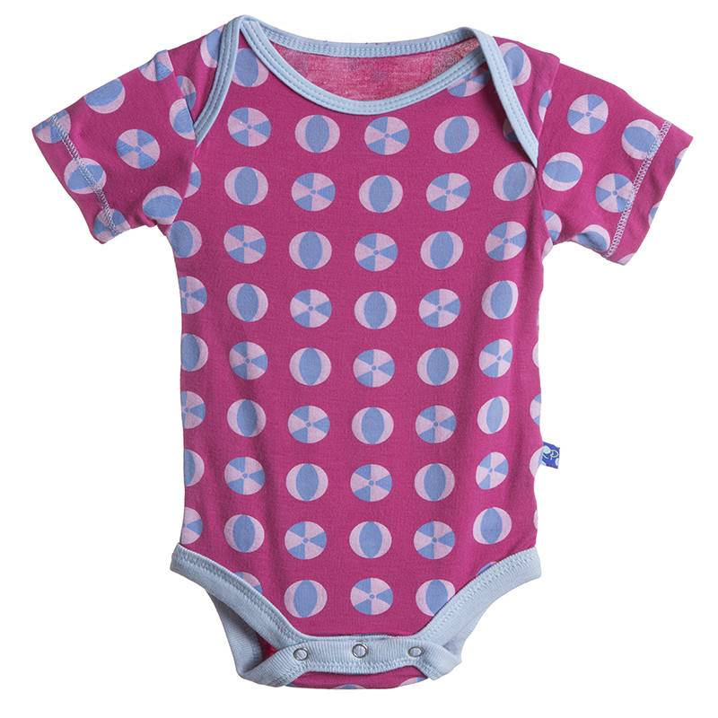 Kickee Pants Onesie - Print Short Sleeve One Piece (BblgumBchBall 12-18Mo)