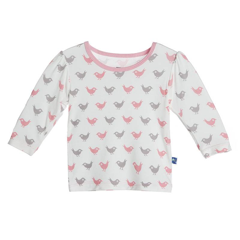 Kickee Pants T-Shirt - Child - Print Long Sleeve Puff Tee Lotus Blackbird -