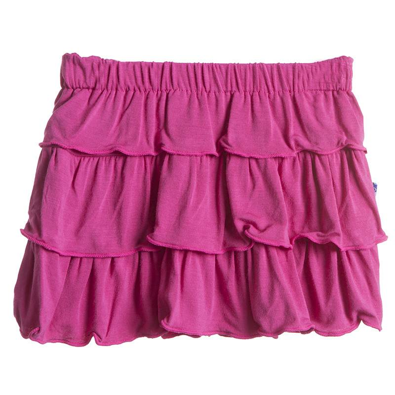 Kickee Pants Skirt - Child - Solid Layered Ruffle Skirt (Bubblegum - 7 Years)