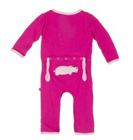 Kickee Pants Coverall - Applique - APPLIQUE COVERALL CALYPSO HIPPO