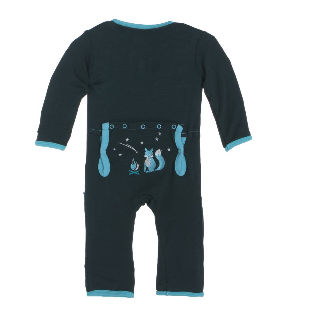Kickee Pants Coverall - Applique - APPLIQUE COVERALL CAMPING FOX