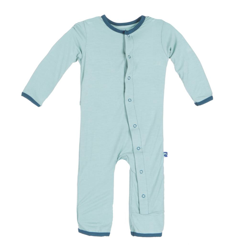 Kickee Pants Coverall - Applique - APPLIQUE COVERALL JADE HEDGEHOG
