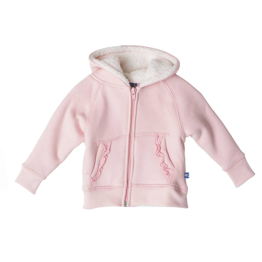 Kickee Pants Ruffle Zip-Front Hoodie with Sherpa-Lined Hood