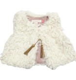 Pink Chicken Vest - Fiona Fur Vest: Cream Fur