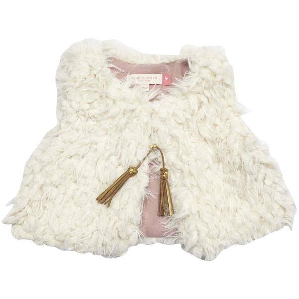 Pink Chicken Vest - Fiona Fur Vest: Cream Fur