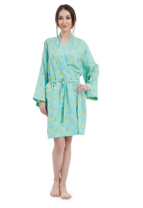 Mahogany Mahogany 100% Cotton Short Robe, Pinapple Turquoise