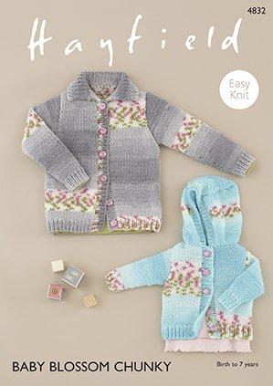 Hayfield 4832 Baby Blossom Chunky Cardi & Hoodie