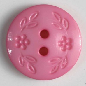 Dill Buttons 218328 Pink Stamped Flower 13 mm