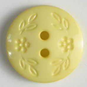 Dill Buttons 221664 Yellow Stamped Flower 15 mm