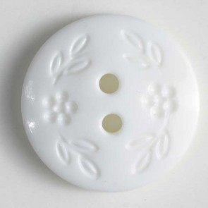 Dill Buttons 221656 White Stamped Flower 15 mm
