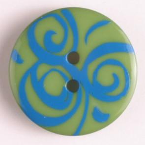Dill Buttons 310669 Green Blue Swirl Button 20mm