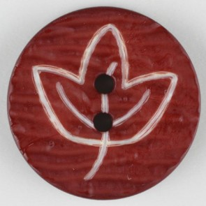Dill Buttons Cranberry etched leaf button 18mm 251362