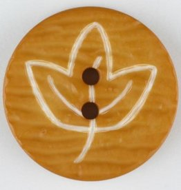 Dill Buttons Yellow etched leaf button 18mm 251363