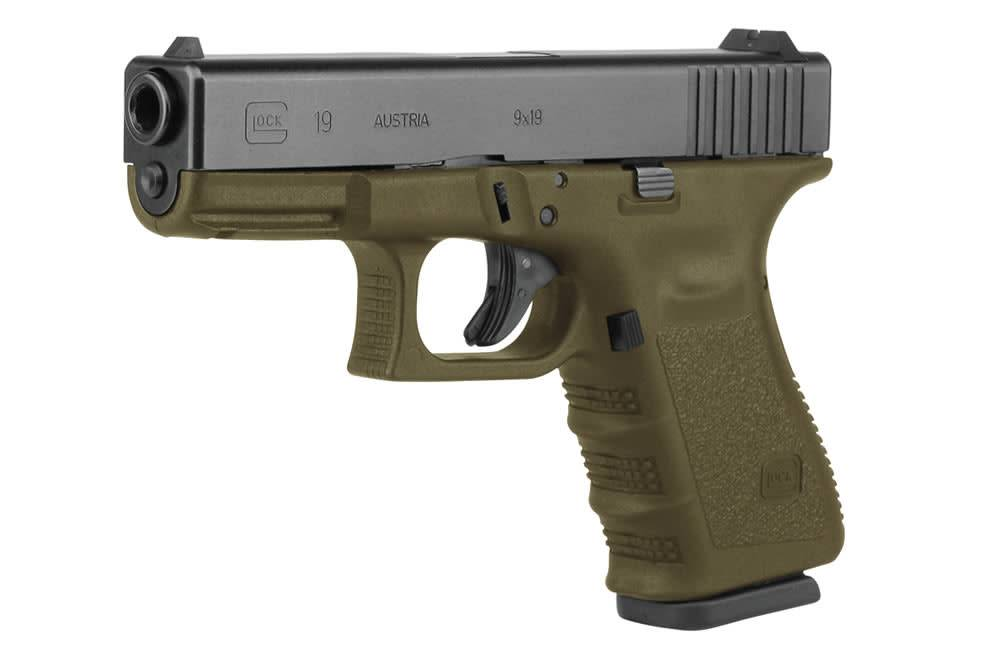 GLOCK GLOCK 19 GEN 3 9MM OD GREEN W/GLOCK NIGHT SIGHTS AND TWO 10 ROUND MAGAZINES