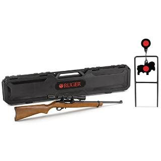 RUGER RUGER 10/22 .22LR WITH WEAVER 3-9X40 SCOPE AND SPINNER TARGET