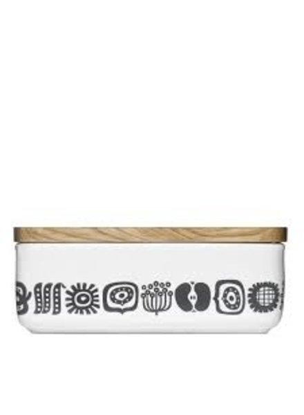 recipiente cuadrado de ceramica tapa de roble KEEP