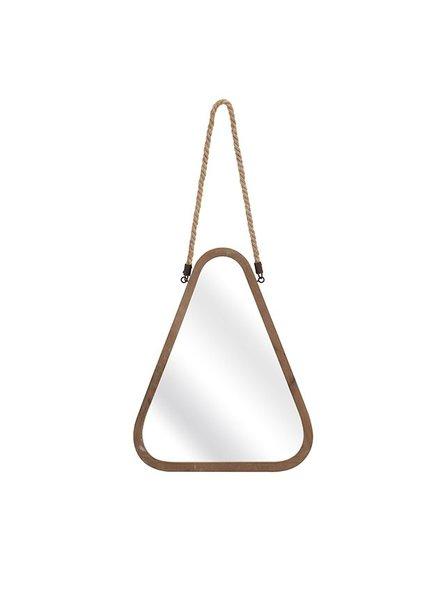 Espejo triangular de madera con cuerda