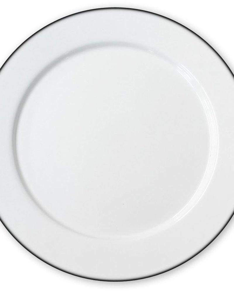 Plato Peltre No.27 Blanco con Filo negro