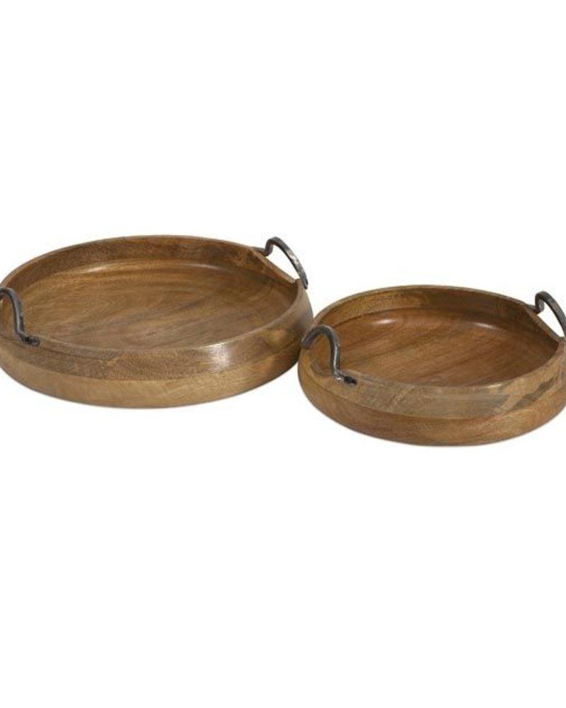 Set de 2 Charolas  talladas a mano, madera de mango.