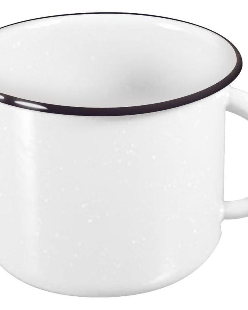 Pocillo de Peltre No.8 Blanco con Filo Negro