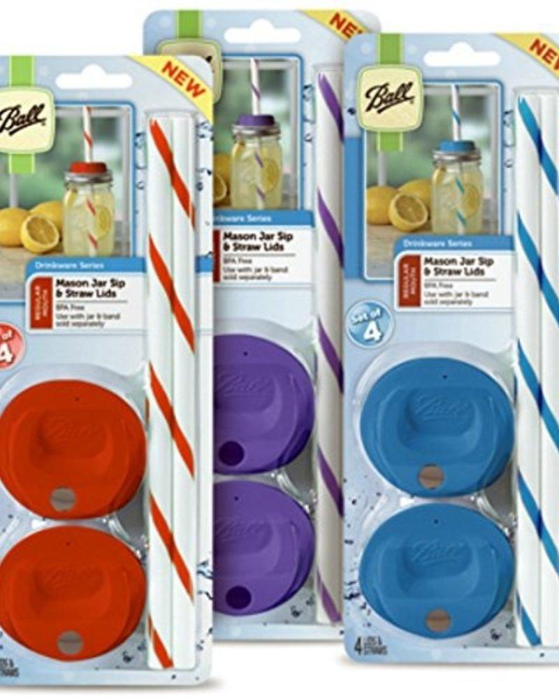 tapas de colores con popote para frascos ball boca regular x4