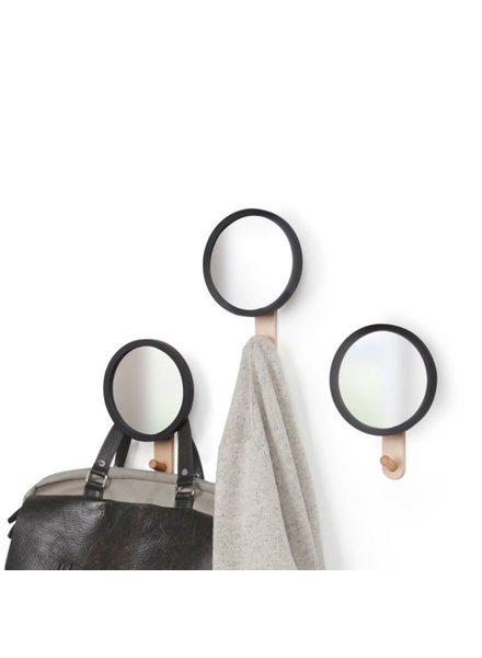 Hub espejo con percha negro/natural