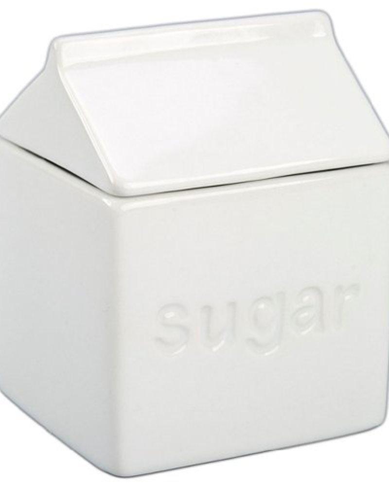 Azucarera Carton de Leche de Ceramica Blanca