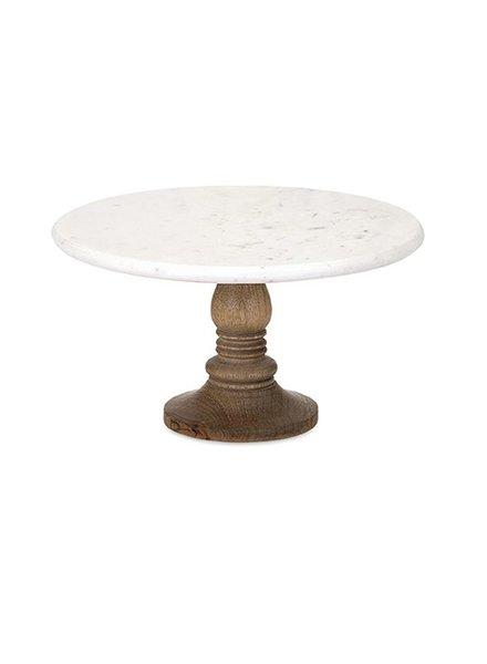 Pastelero de marmol con base de madera