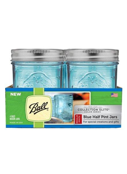 caja de frascos ball azules 1/2 pt boca regular