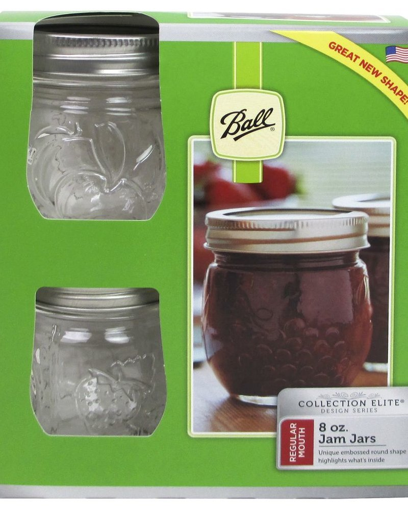 caja con 4 frascos ball elite 8 oz boca regular