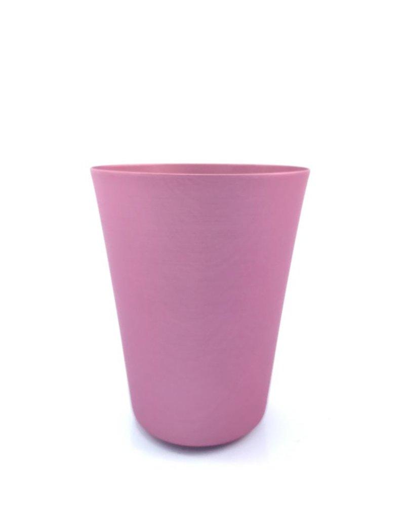 vaso cónico  grande de aluminio adonizado rosa mate