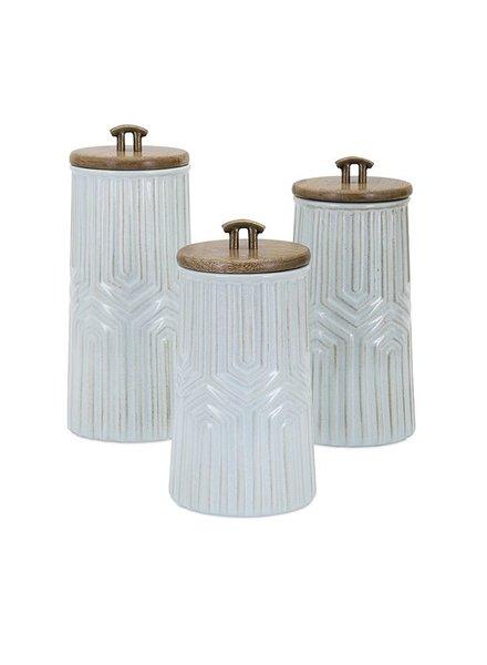 Set de 3 frascos ceramicos con tapa de madera
