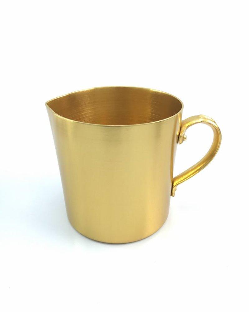 jarra tipo pocillo de aluminio anodizado color oro
