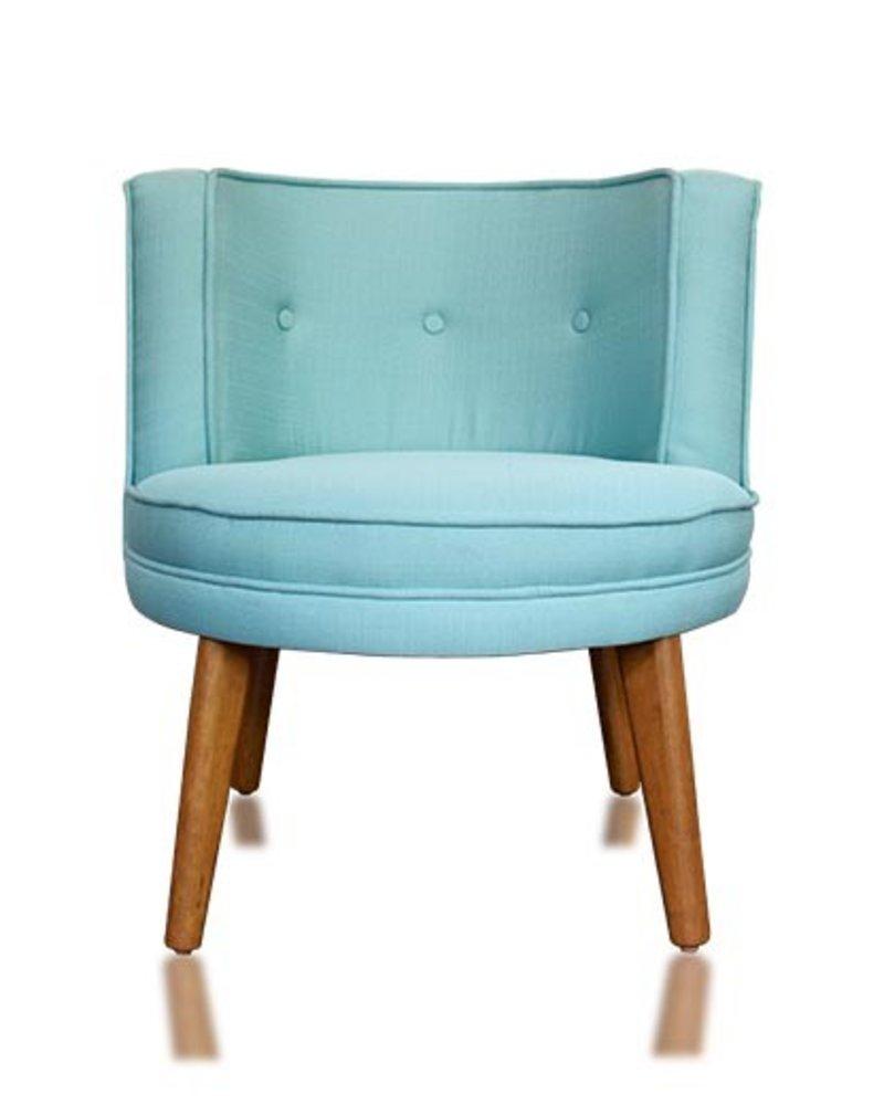 sillón ovalado nogal/ lino aqua