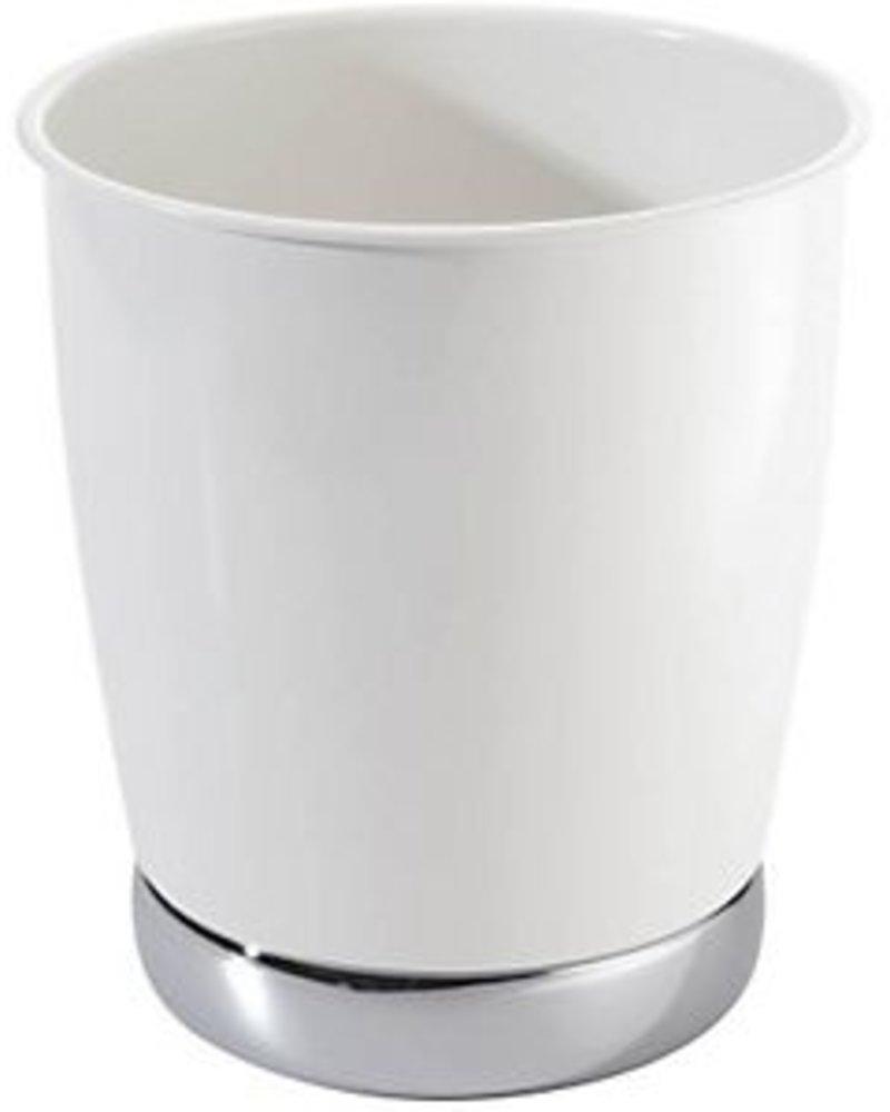 cesto de basura york blanco con base cromada