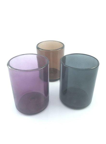 Vaso rocas 8x10 entintados chocolate, negro, lila o rosa pastel