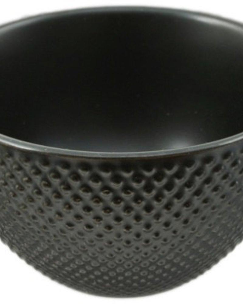 taza negra  de te japonesa  con estoperoles