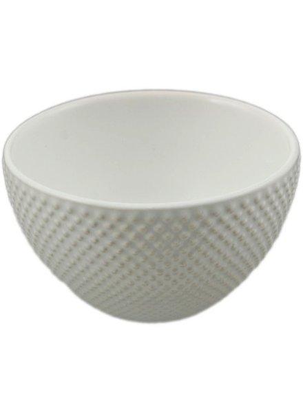taza blanca de te japonesa  con estoperoles