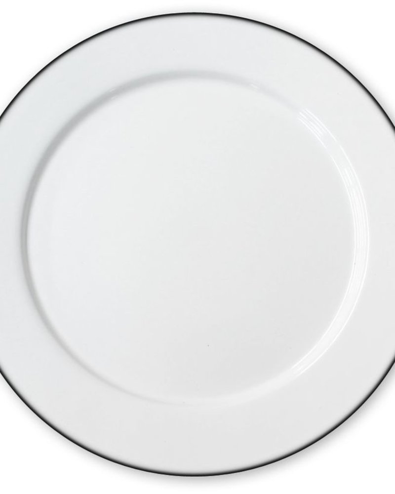Plato Peltre Liso No.20 Blanco con Filo Negro