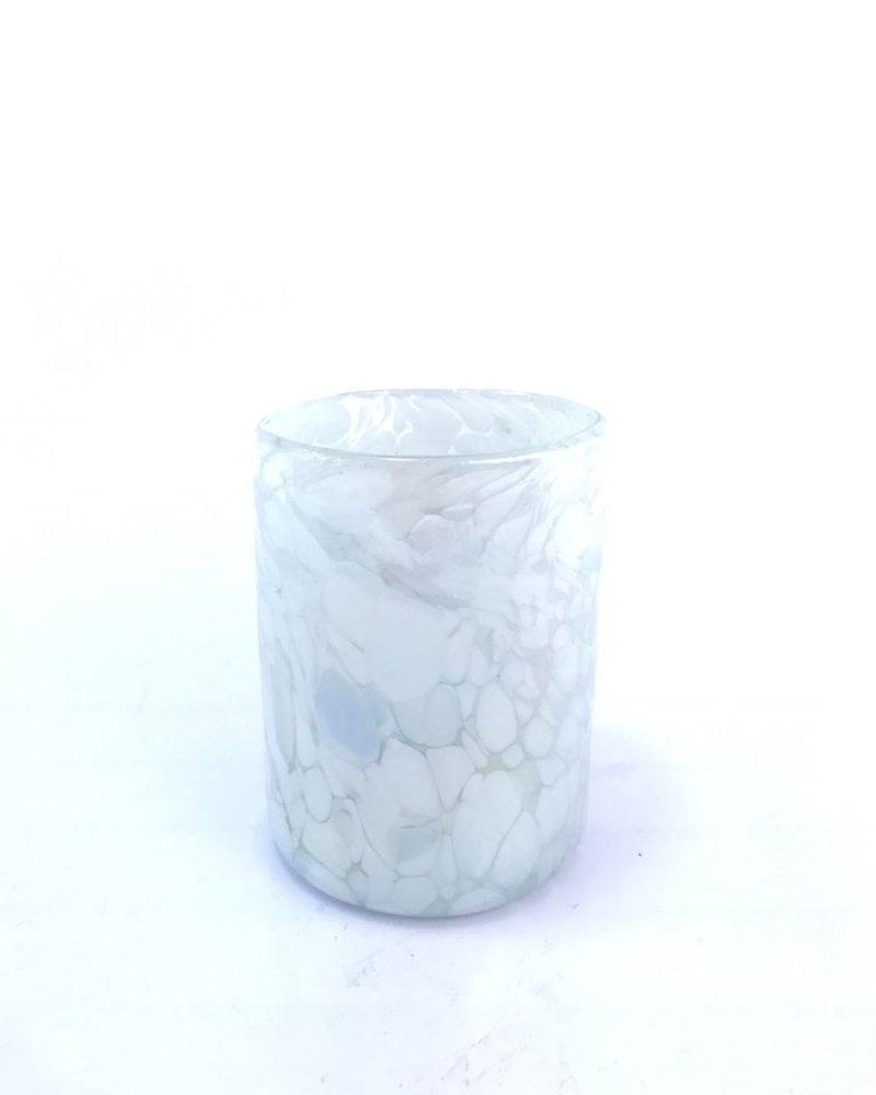 Vaso rocas 8x10 pintas blancas con lustro
