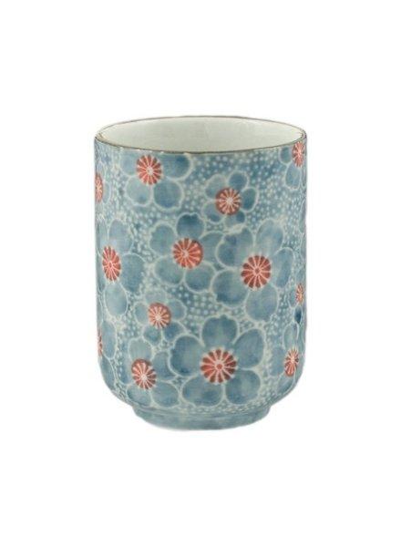 taza de te japonesa flores