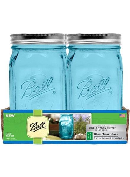 caja con 4 frascos ball 32 oz 1 qt boca ancha azul