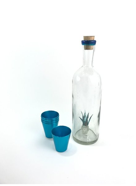 Licorera c/agave aguamarina y filo