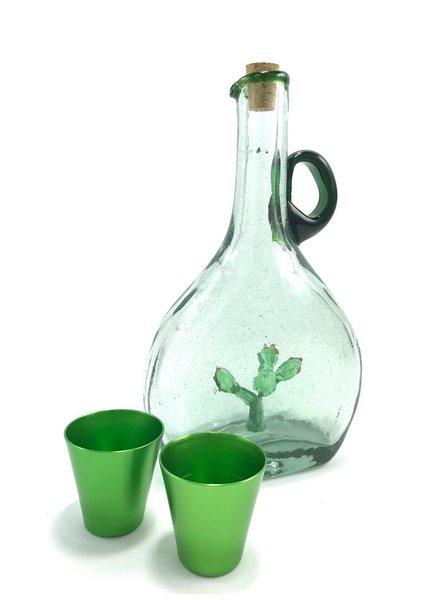 Licorera c/nopal c/asa verde y filo verde jade
