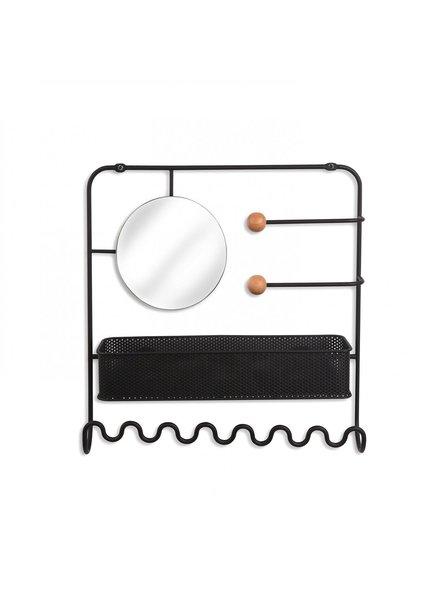 Estique organizador metalico  de pared con espejo