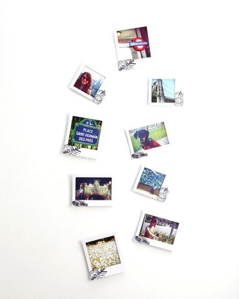 Set de 9 portaretratos postal blancos