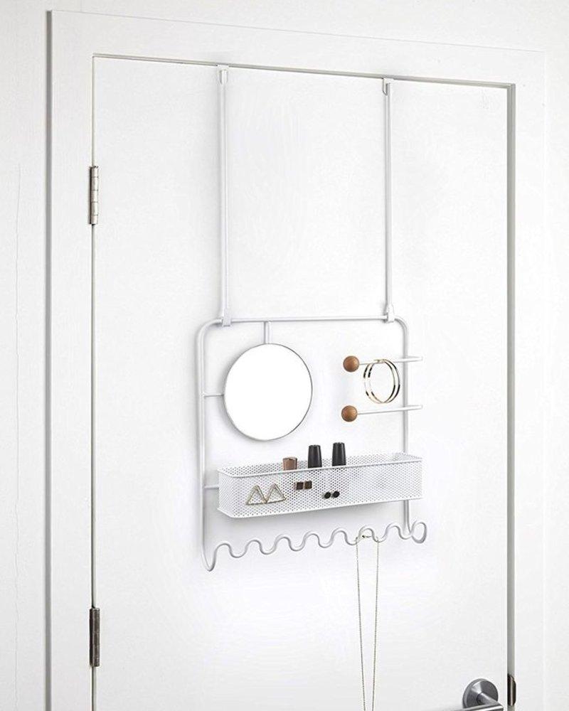 Estique organizador metalico  de pared con espejo blanco