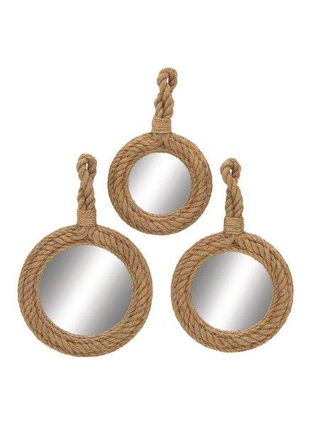 Set de 3 espejos rodeados de cuerda