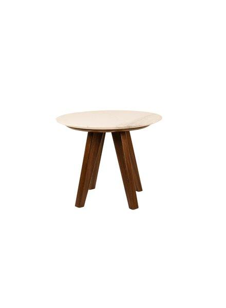 Mesa lateral redonda cubieta de marmol  50 cms de diametro